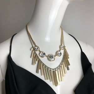 Pair of necklaces Gold Tone Fringe and CZ